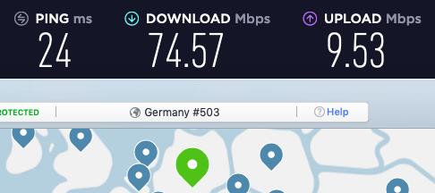 NordVPN speed test